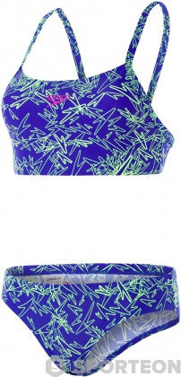 Speedo Boom Allover 2 Piece Chroma Blue/Bright Zest/Neon Orchid