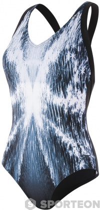 Speedo Opalweb Printed 1 Piece Black/White/Oxid Grey