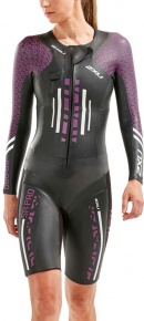 2XU Pro-Swim Run Pro Wetsuit Women Black/Very Berry Print